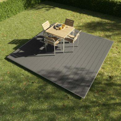 kobrax wpc terrassenkomplettset 3x3 quarzgrau 390x390 - KobraX WPC Terrasse BASIC – Quarzgrau 3x3m